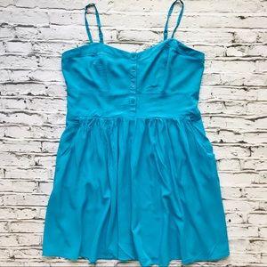 Express Turquoise Spaghetti Strap Sun Dress
